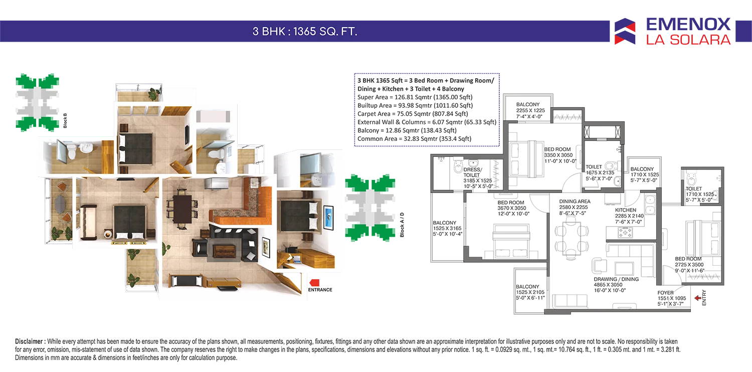Emenox La Solara 3BHK Apartments Floor Plan